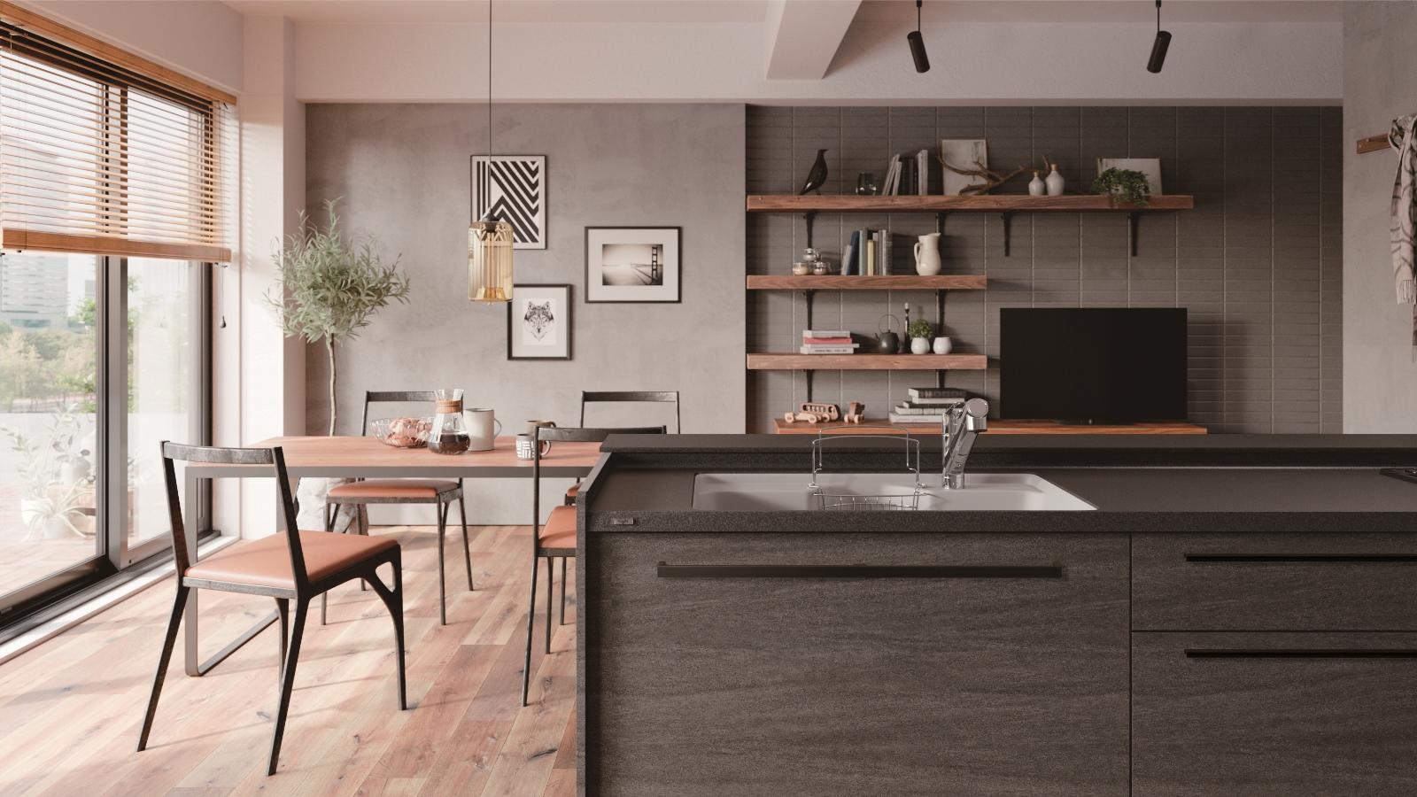黒いキッチン