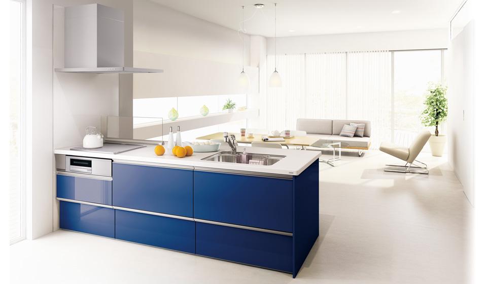 青いキッチン