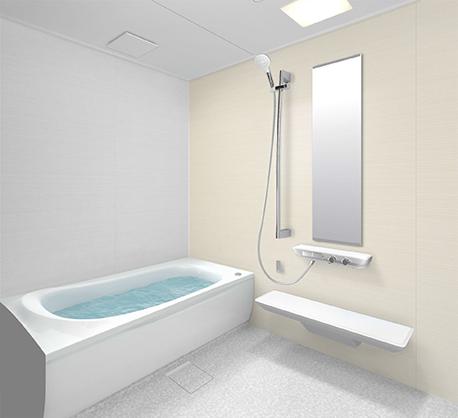クリーム色の壁のお風呂