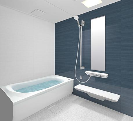 暗い青の壁のお風呂