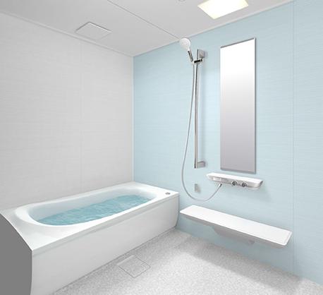 水色の壁のお風呂
