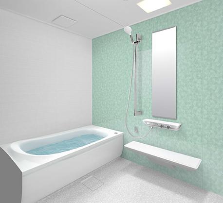 淡い緑の壁のお風呂