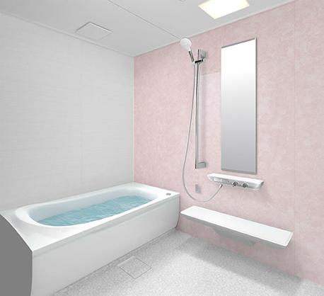 ピンクの壁のお風呂