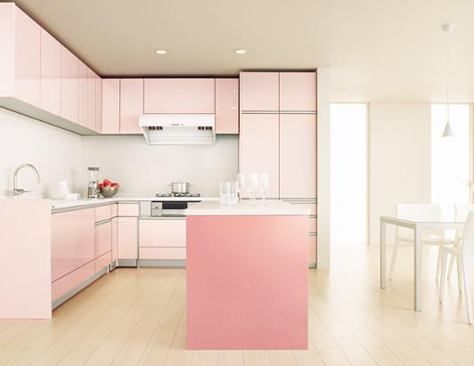 ピンクのキッチン