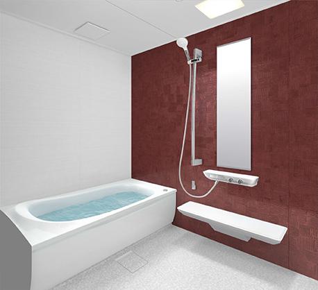 赤い壁のお風呂