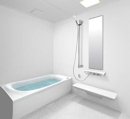 白い壁のお風呂
